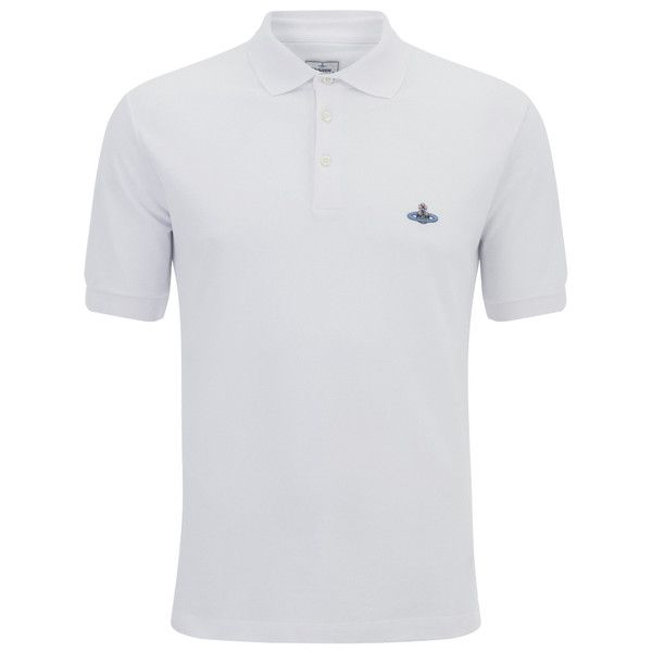 Vivienne Westwood MAN Men's Orb Logo Pique Polo Shirt -White (£110) ❤ liked on Polyvore featuring men's fashion, men's clothing, men's shirts, men's polos, white, mens white polo shirt, mens pique polo shirts, vivienne westwood mens shirts, mens polo shirts and mens white shirts