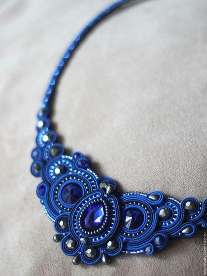 """Soutache necklace / Колье, бусы ручной работы. Ярмарка Мастеров - ручная работа. Купить Сутажное колье """"Авелин"""". Handmade. Тёмно-синий"""