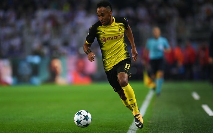 Download wallpapers 4k, Pierre-Emerick Aubameyang, match, Borussia Dortmund, Bundesliga, BVB, football, soccer