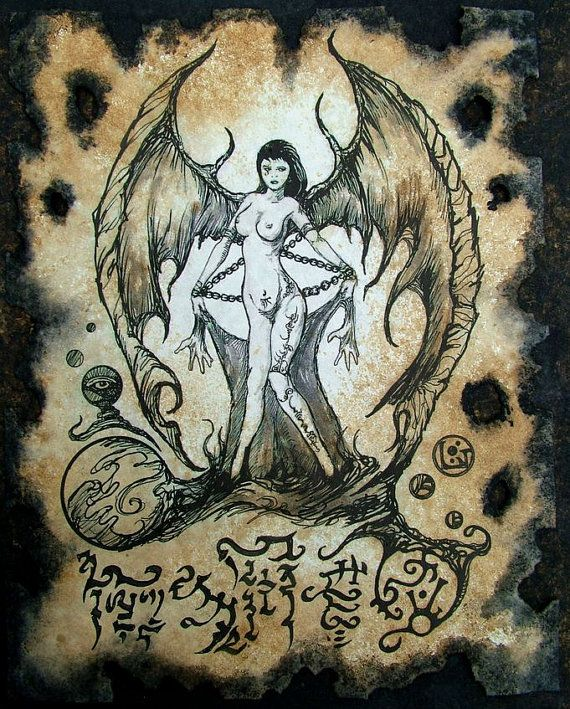 SUCCUBUS cthulhu larp cosplay Necronomicon Fragment demon grimoire witch magick on Etsy, $10.00