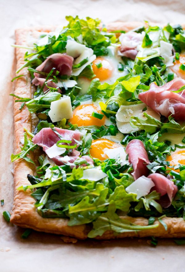Asparagus-Egg-Prosciutto Tart with Summer Salad. A simple, farmer's market inspired puff pastry tart that comes together in less than 45 minutes!