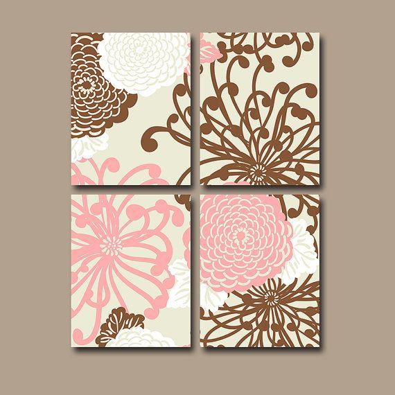 Спальня Цветок Wall Art Холст Керамика Декор Розовый Коричневый Детский сад Детские Цветочные Комплект из 4 Prints Ванная комната Спальня Душ занавес Постельные принадлежности