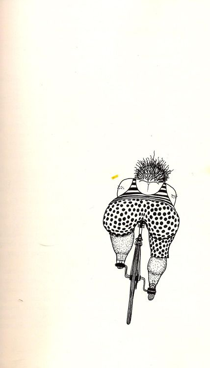Illustration by Rick Morrall, from Anybody's Bike Book... This is what I feel like riding a bike at times! When will a bike come out with bucket seats?! Lol!