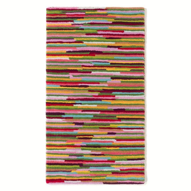 Descente de lit tuftée en laine rayures multicolor La Redoute Interieurs en soldes | La Redoute