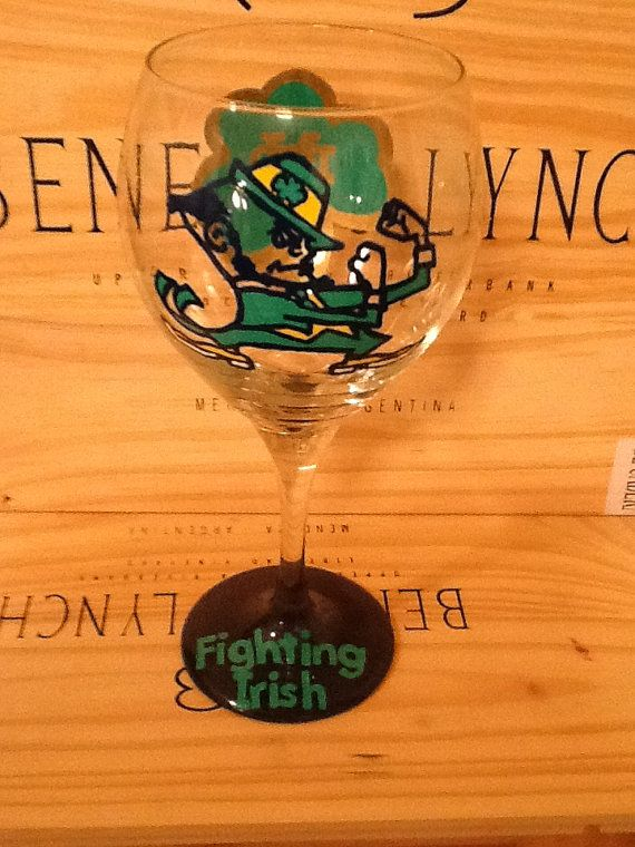 "Notre Dame ""Fighting Irish"" Hand Painted Wine Glass on Etsy, $25.95"