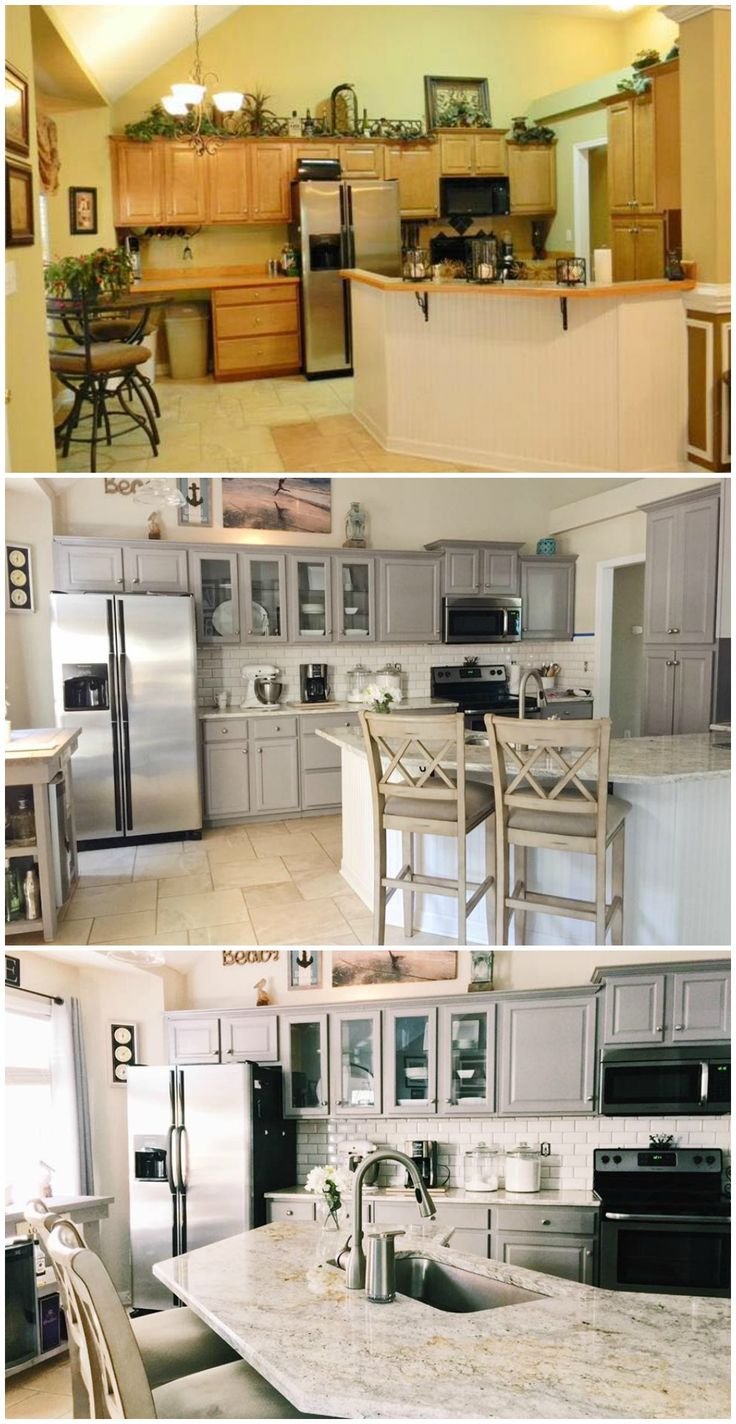 Easy Kitchen Remodel: Painted Cabinets, Stainless Steal Appliances,  Granite, White Tile Backsplash