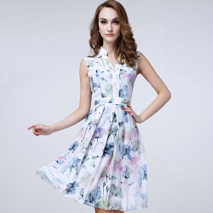 100% Silk Dress 2017 New Desigual women clothing beach dress christmas print dress lace dress