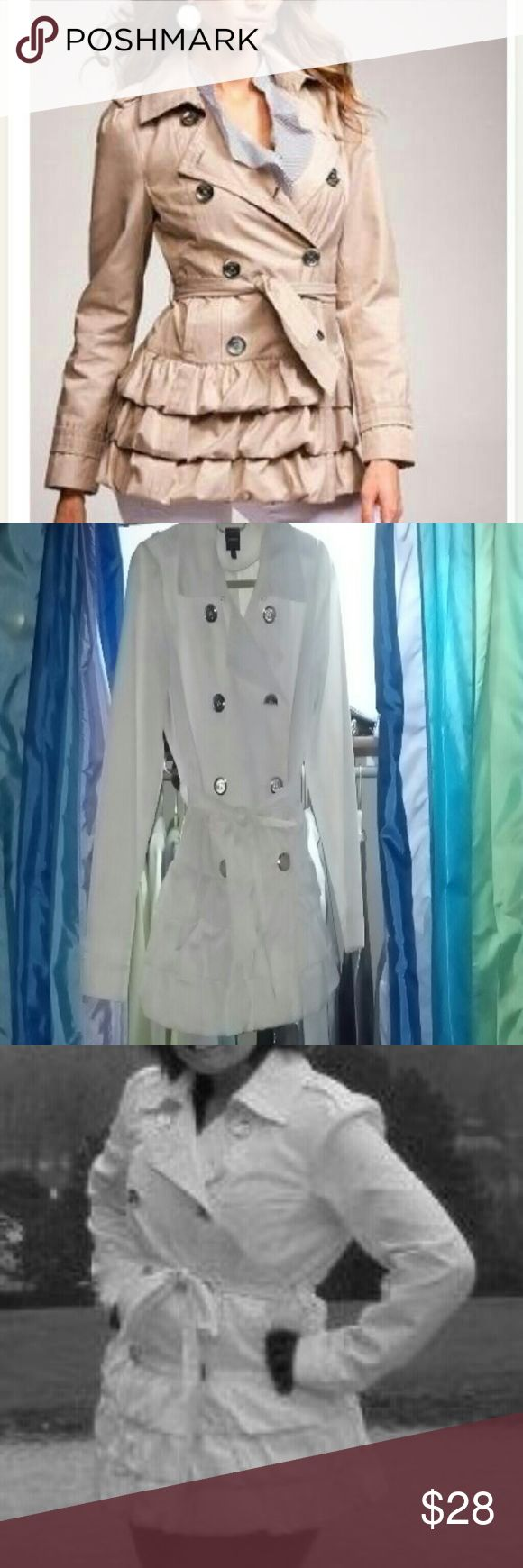 White ruffle coat *DONATING 9/9* White double breasted coat with ruffle bottom and tie!! Some discoloration from wear around collar...can be washed out!! I've taken to the dry cleaners and they got most of discoloration out!! Features two front pockets!! Express Jackets & Coats