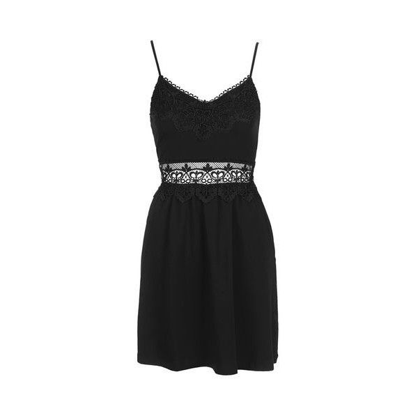 TopShop Petite Lace Insert Sundress ($55) ❤ liked on Polyvore featuring dresses, black, sundress dresses, lace detail dress, applique dress, strappy sundress and lace panel dress
