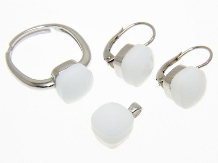 Fehér Swarovski kristályos ezüst fülbevaló medál és gyűrű szett