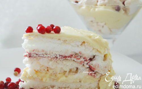 Торт-безе с брусничным курдом | Кулинарные рецепты от «Едим дома!»