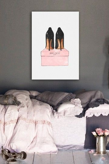 I love this! Bed, pink, grey, white and black. Gorgeous! And the painting... Jimmy Choo
