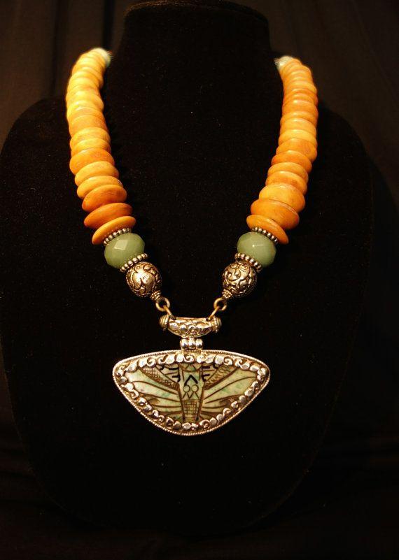 Masha Archer Jade Butterfly Pendant Set in by ChannelingChanel