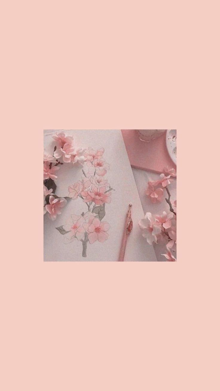 Romantic pink cherry blossom flowers in vase ipad wallpaper. @maddierolfex on pinterest ☆ - #maddierolfex #pinterest #