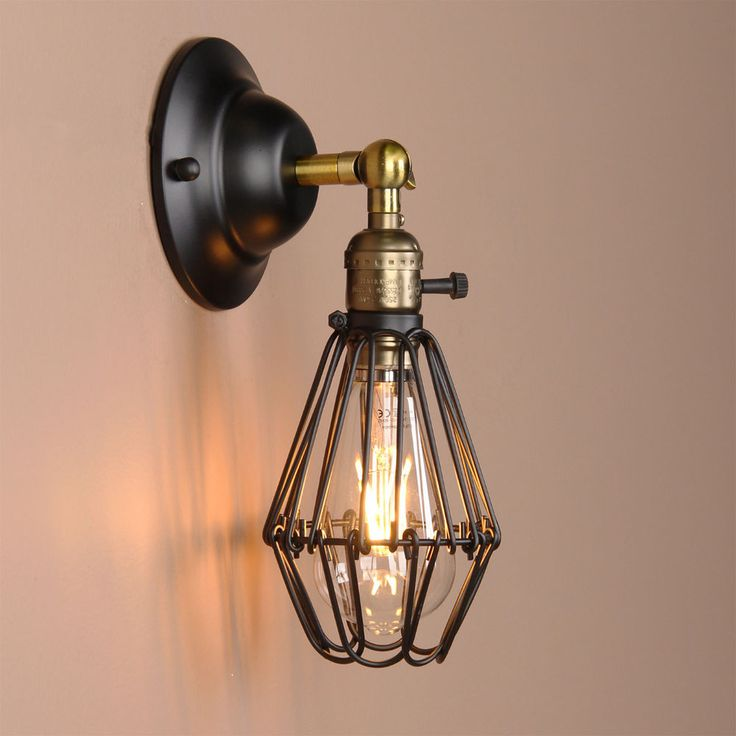 Black Wall Lamp Vintage Industrial Bird Cage Wall Light