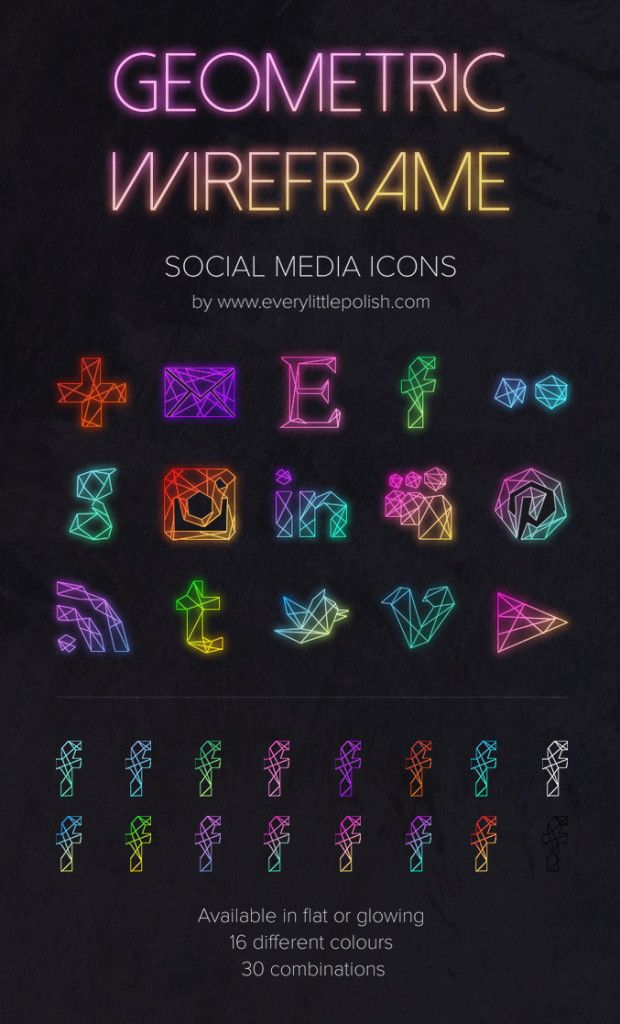 Free Neon Geometric Wireframe Glowing Social Media Icons