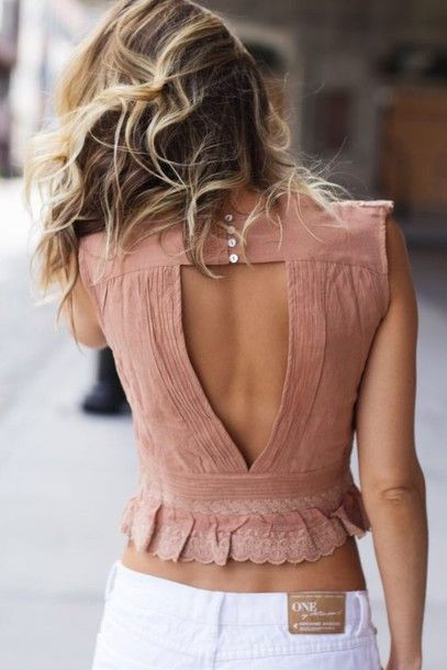 Top: backless top, summer top, ruffle, cute top, dusty pink, ruffled top, low back, cut-out, button up - Wheretoget