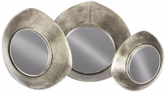 Benzara Metal Tray With Mirror Surface and Concave Sides Set of 3