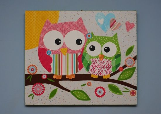 owl modge podge canvas | ... Crafty Fun :) / Owl Picture: Modge podge paper onto canvas or wood