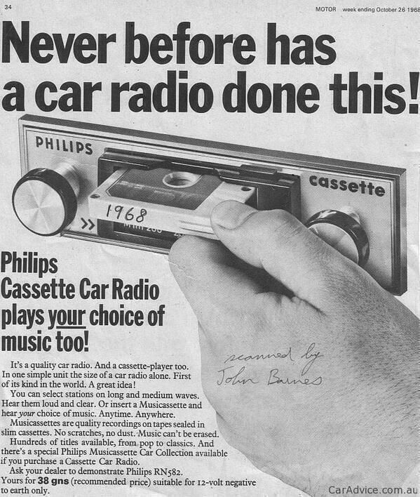 History In Pictures @HistoryInPics  Philips Cassette Car Radio ad, 1968