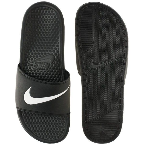 Nike Benassi Swoosh Slider Flip Flops (20 CAD) ❤ liked on Polyvore featuring shoes, sandals, flip flops, nike, shoes // socks, nike footwear, nike flip flops, traction shoes and open toe sandals
