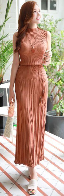 StyleOnme_Slim Fit Pleated Maxi Knit Dress #camel #pleats #maxi #dress #elegant #koreanfashion #kstyle #kfashion #seoul #summerlook