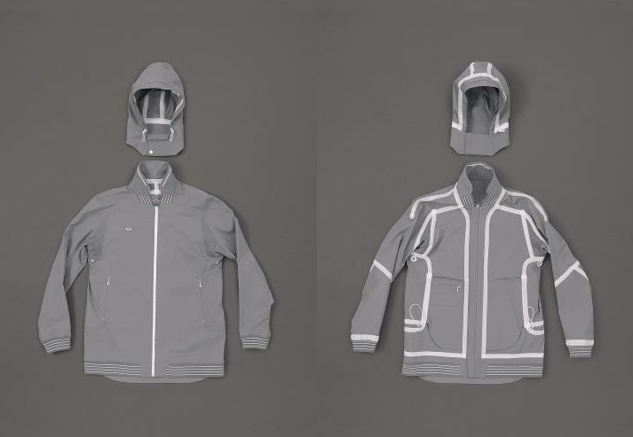 Tron like jacket. Part of the six piece Aitor Throup x Umbro Archive Research Project.