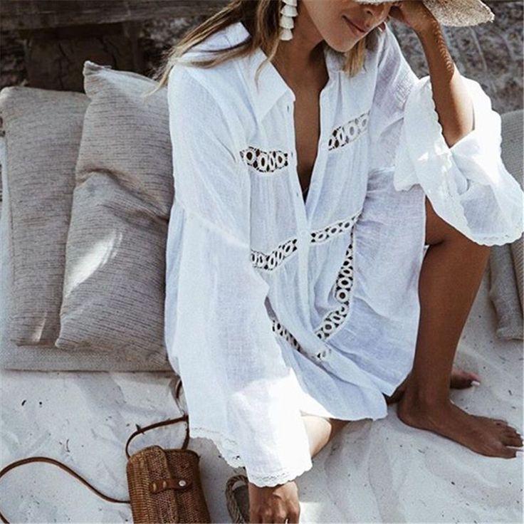 White Cotton Beach Mini Cover Up Dress