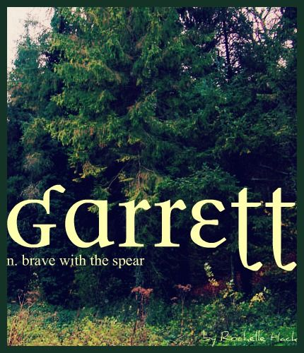 Baby Boy Name: Garrett. Meaning: Brave With the Spear. Origin: English; Irish; Norse. http://www.pinterest.com/vintagedaydream/baby-names/