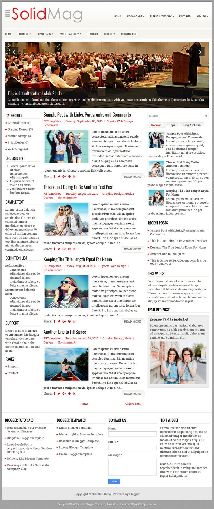 SolidMag Blogger Template:  SolidMag is an Elegant, Fully Responsive, 3 Columns Blogger Template for News/Magazine Blogs. SolidMag Blogger Template has a Featured Content Slider, 2 Navigation Menus, Related Posts with Thumbnails, Breadcrumb, Social and Share Buttons, Left and Right Sidebars, 4 Columns Footer, Google Fonts, Tabbed Widget and More Features.  https://www.premiumbloggertemplates.com/solidmag-blogger-template/