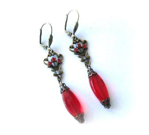 Rode bloem oorbellen Sieraden Antieke koperen bronzen Victoriaanse vintage stijl dangle leverback oorbellen rode Tsjechisch glas kraal, rode oorbellen