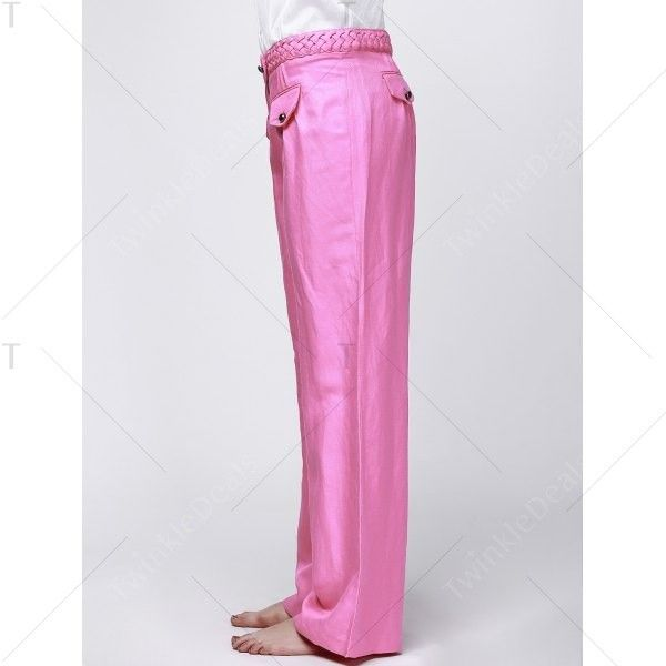 Fashionable High-Waisted Solid Color Women's Wide Leg Pants Rose (€14) via Polyvore featuring pants, high-waist trousers, high waisted wide leg trousers, wide-leg trousers, high waisted pants e high rise wide leg pants