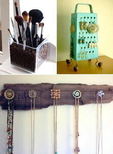 some really good ideas for jewelry and make up organization here. love the coffee bean idea!