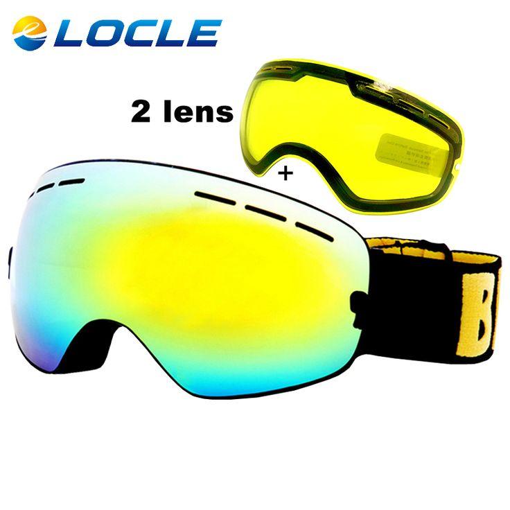 LOCLE Anti-fog Ski Goggles UV400 Ski Glasses Double Lens Skiing Snowboard Snow Goggles Ski Eyewear With One Brightening Lens #jewelry, #women, #men, #hats, #watches, #belts, #fashion