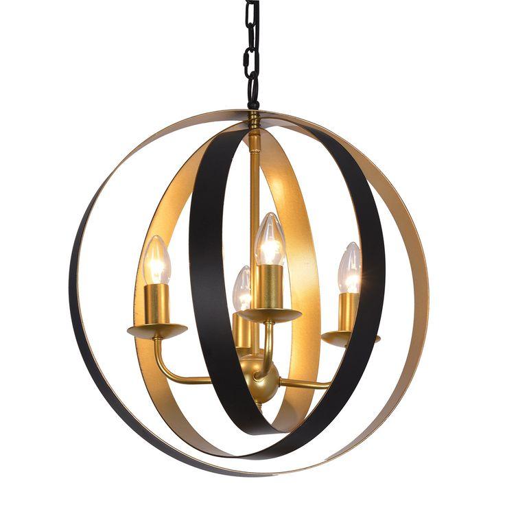 Lampa sufitowa KAIA czarno-złota Italux MD-BR16079-D4-B/G