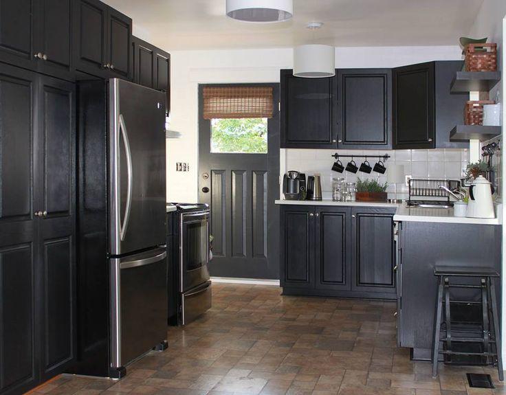 Painted cupboards black-original oak