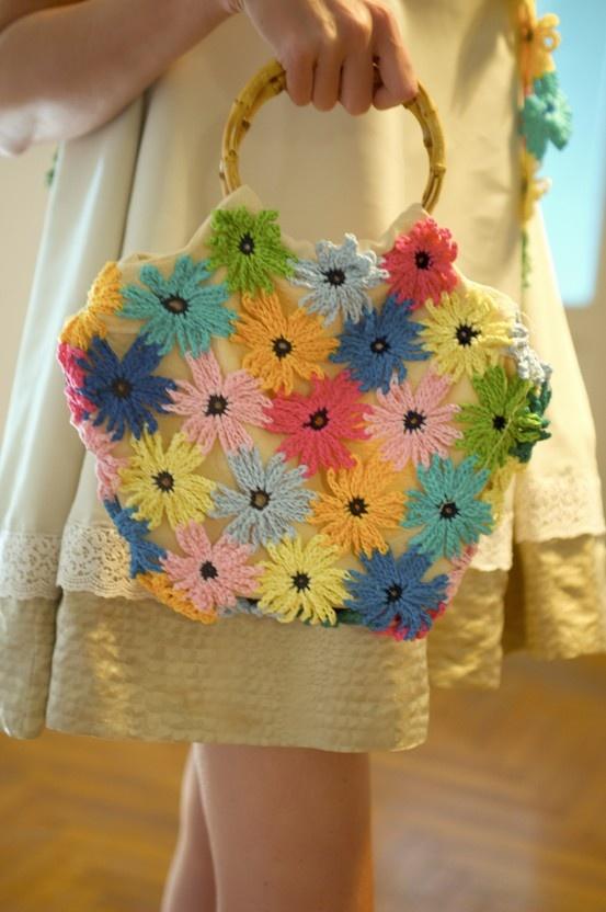 romantic bag crocheted fabric lining