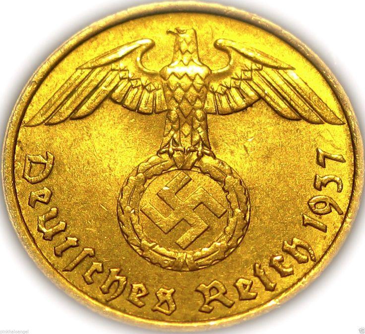 German Third Reich 1937A Gold Colored 5 Reichspfennig Coin Rare WW 2