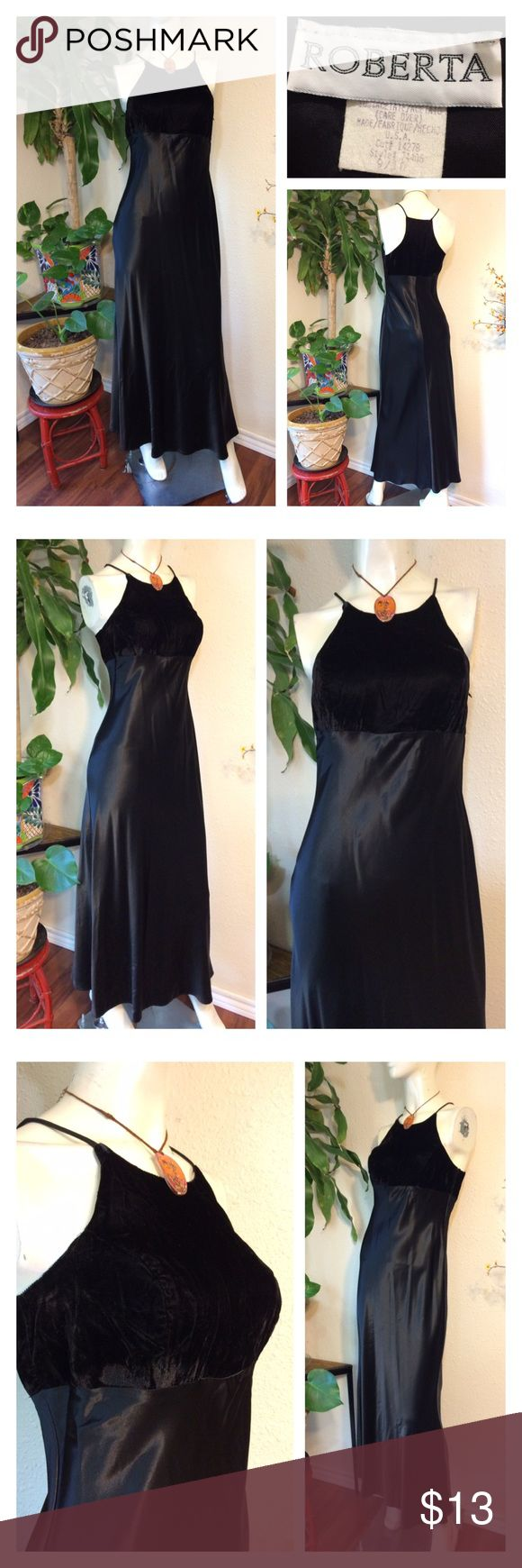 """90s Velvet Satin Dress Maxi Goth Formal Prom Punk Zips on side, lined upper, floor length  Sz 9/10 on label please check below for contemporary sizing. Rayon Acetate. Dry Clean ❤️How Do I Know This Will Fit Me? Take a Similar item you already own that you LOVE and fits you great...  Use the Measurements below... and Compare them to that item that Fits you so well (instead of to your body measurements)* ❤️Approx measurements laid flat- (double where necessary) Underarm to underarm: 16.5""""…"""