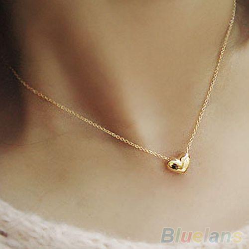 Joyería moda mujer chapado en oro del corazón Bib declaración cadena collar de los colgantes 1Q6X