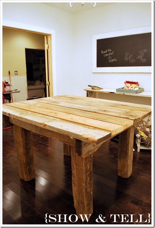 I want to build my own farm table but I want one bar height and I LLLOOOVVVEEE what she did with this table.  This is my inspiration for my future table, big, chunky, heavy.  I think I will stain mine a dark brown though. Yes, I love that idea!