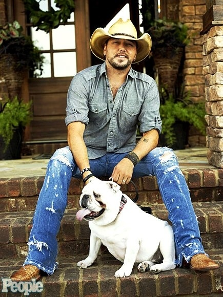 Jason Aldean and his bulldog... ahhh ill be your wife :)