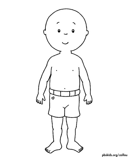 letter C craft: Caillou paperdoll. free printable with 6 outfits.