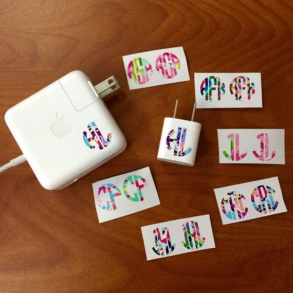 Lilly Pulitzer Monogrammed Charger Decal iPhone iPad Apple Mac