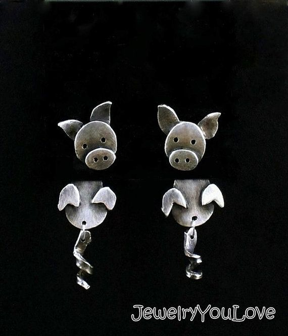 Sterling Silver Pig Front and Back Earrings by JYLbyPeekaliu