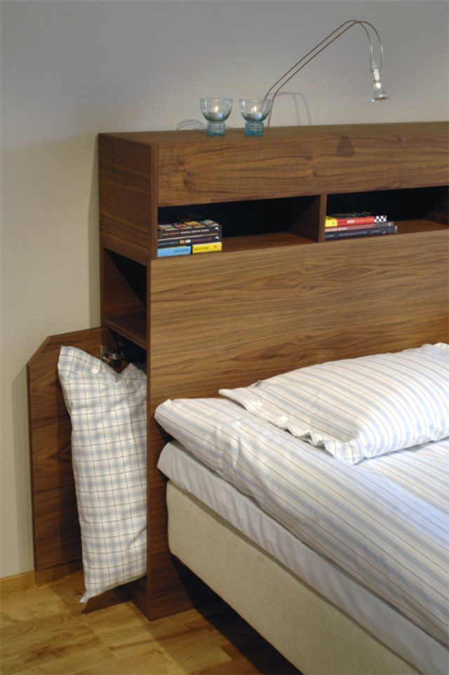 "Storage in the headboard - something a bit like that, maybe smaller so we can use it as a ""bedside table"""