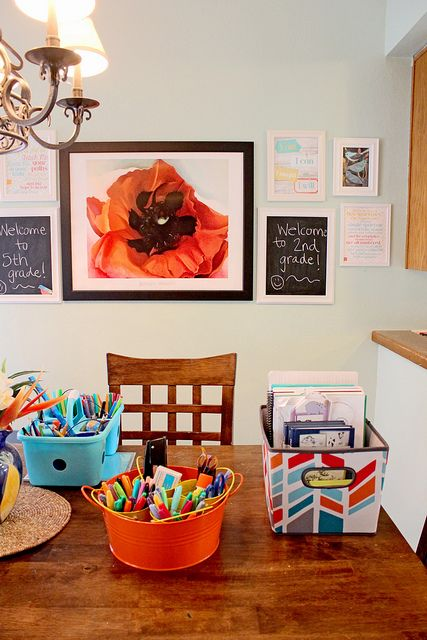 Such great ideas for organizing a dining school room for Homeschool dining room ideas