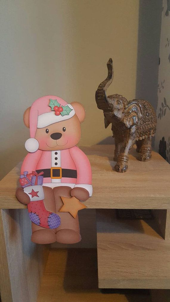 Check out this item in my Etsy shop https://www.etsy.com/uk/listing/473415164/bear-in-pink-with-stocking-on-the-shelf