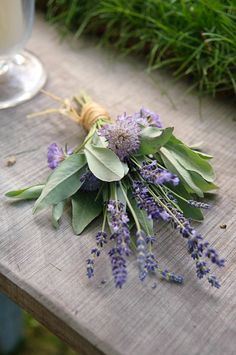 Sage and lavender bouquets <3 Our favorite combination!! Bouquets For A Rustic Wedding from rusticweddingchic.com