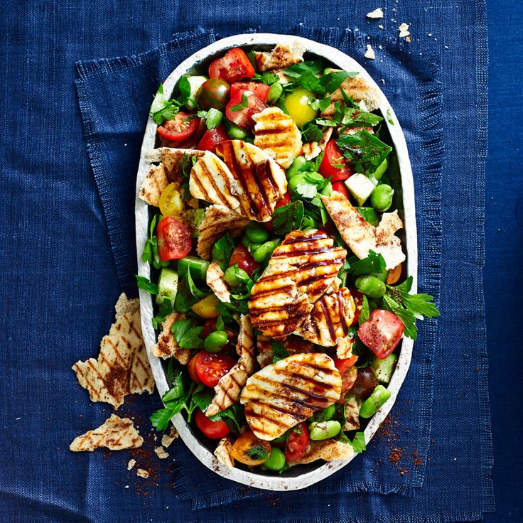 Broad bean fattoush with grilled haloumi Recipe | Weight Watchers NZ